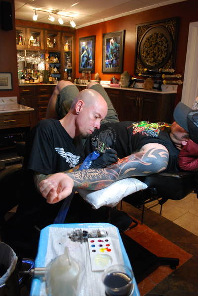 Peter Moylan gets tattooed at All or Nothing Tattoo